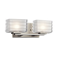 Kichler 45478NI Bazely 2 Light 15 inch Brushed Nickel Wall Mt Bath 2 Arm Wall Light