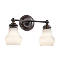 Kichler 45487ORZ Currituck 2 Light 16 inch Oil Rubbed Bronze Wall Mt Bath 2 Arm Wall Light
