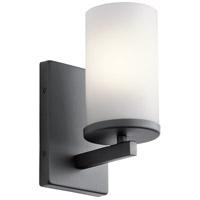 Kichler 45495BK Crosby 1 Light 5 inch Black Wall Bracket Wall Light