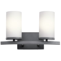 Kichler 45496BK Crosby 2 Light 15 inch Black Wall Mt Bath 2 Arm Wall Light