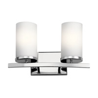 Kichler 45496CH Crosby 2 Light 15 inch Chrome Vanity Light Wall Light