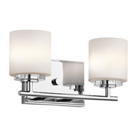 Kichler 45501CH O Hara 2 Light 13 inch Chrome Wall Mt Bath 2 Arm Wall Light