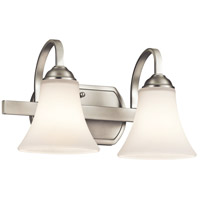 Keiran 2 Light 14 inch Brushed Nickel Bath Bracket Wall Light