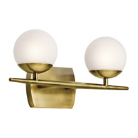 Jasper 2 Light 17 inch Natural Brass Bath Light Wall Light