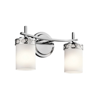 Kichler 45585CHL16 Marlowe 2 Light 16 inch Chrome Vanity Light Wall Light in LED, Dimmable