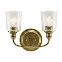 Kichler 45746NBR Waverly 2 Light 15 inch Natural Brass Vanity Light Wall Light