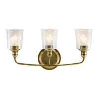 Waverly 3 Light 24 inch Natural Brass Vanity Light Wall Light