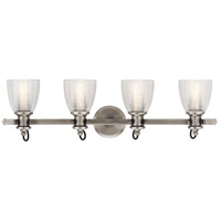 Flagship 4 Light 33 inch Classic Pewter Vanity Light Wall Light, 4 Arm