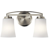 Tao 2 Light 15 inch Brushed Nickel Vanity Light Wall Light, 2 Arm