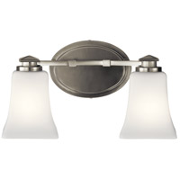 Kichler 45897NI Clare 2 Light 14 inch Brushed Nickel Vanity Light Wall Light, 2 Arm