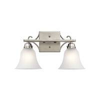 Bixler 2 Light 17 inch Brushed Nickel Vanity Light Wall Light in LED, Dimmable