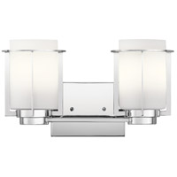 Kichler 45947CH Chagrin 2 Light 14 inch Chrome Vanity Light Wall Light, 2 Arm