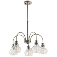 Schoolhouse 5 Light 26 inch Classic Pewter Chandelier Ceiling Light, Medium