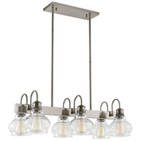 Schoolhouse 6 Light 14 inch Classic Pewter Chandelier Linear Ceiling Light, Double
