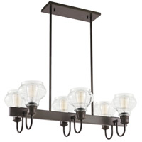 Schoolhouse 6 Light 14 inch Oil Rubbed Bronze Chandelier Linear Ceiling Light, Double