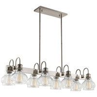 Schoolhouse 8 Light 14 inch Classic Pewter Chandelier Linear Ceiling Light, Double