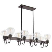 Schoolhouse 8 Light 14 inch Oil Rubbed Bronze Chandelier Linear Ceiling Light, Double