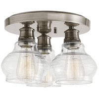 Schoolhouse 3 Light 14 inch Classic Pewter Flush Mount Light Ceiling Light