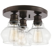 Schoolhouse 3 Light 14 inch Oil Rubbed Bronze Flush Mount Light Ceiling Light