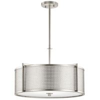Perforated 4 Light 22 inch Brushed Nickel Pendant Ceiling Light