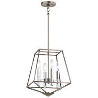 Geometric 4 Light 17 inch Classic Pewter Pendant Ceiling Light
