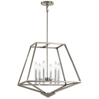 Geometric 6 Light 28 inch Classic Pewter Pendant Ceiling Light