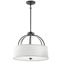 Kichler 48122AVI Lodge 3 Light 18 inch Anvil Iron Flush Mount Ceiling Light