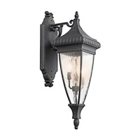 Venetian Rain 3 Light 31 inch Black W/Gold Outdoor Wall Lantern