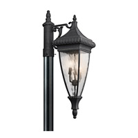 Venetian Rain 3 Light 33 inch Black W/Gold Outdoor Post Lantern