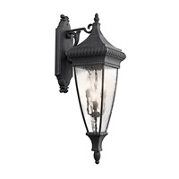 Kichler Lighting Venetian Rain 4 Light Outdoor Wall Lantern in Black W/Gold 49135BKG