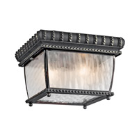 Kichler Lighting Venetian Rain 2 Light Outdoor Flush Mount in Black W/Gold 49136BKG