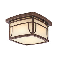 Kichler 49153AGZVM Soria 2 Light 10 inch Aged Bronze Outdoor Flush & Semi Flush Mount in Vetro Mica