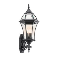 Kichler Lighting Townhouse 3 Light Outdoor Wall Lantern in Black (Painted) 49185BK