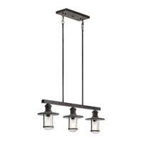 Kichler 49197WZC Riverwood 3 Light 8 inch Weathered Zinc Outdoor Chandelier