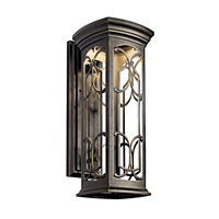 Kichler 49228OZLED Franceasi LED 22 inch Olde Bronze LED Outdoor Wall Lantern