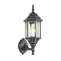 Kichler 49255BK Chesapeake 1 Light 17 inch Black Outdoor Wall Lantern in Clear Beveled Glass