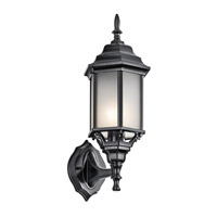 Kichler 49255BKS Chesapeake 1 Light 17 inch Black Outdoor Wall Mount in Satin Etched White Glass