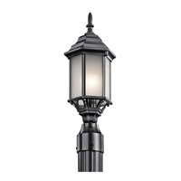 Kichler 49256BKS Chesapeake 1 Light 18 inch Black Post Lantern in Satin Etched White Glass
