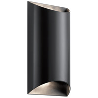 Kichler 49279BKLED Wesley LED 14 inch Black Outdoor Wall Sconce in Clear Tempered Glass Medium