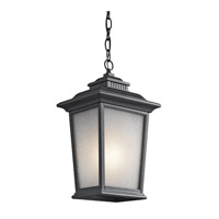 Kichler Lighting Builder Weatherly 1 Light Outdoor Pendant in Black (Painted) 49441BK