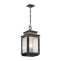 Kichler Wiscombe Park 4 Light Outdoor Hanging Pendant in Weathered Zinc 49505WZC
