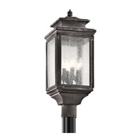 Kichler Wiscombe Park 4 Light Outdoor Post Lantern in Weathered Zinc 49506WZC
