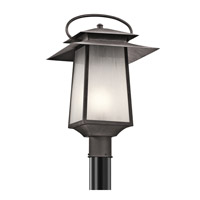 Kichler Woodland Lake 1 Light Outdoor Post Lantern in Weathered Zinc 49534WZC