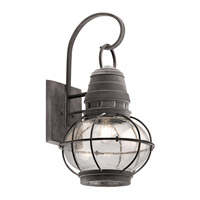 Kichler Bridge Point 1 Light Outdoor Wall Mount in Weathered Zinc 49630WZC