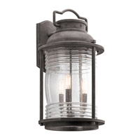 Kichler Ashland Bay 3 Light Outdoor Wall Mount in Weathered Zinc 49668WZC