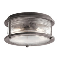 Kichler Ashland Bay 2 Light Outdoor Ceiling Mount in Weathered Zinc 49669WZC