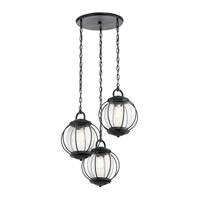 Vandalia 3 Light 23 inch Textured Black Outdoor Chandelier