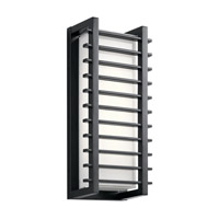 Kichler 49785BKLED Rockbridge LED 16 inch Black Outdoor Wall Light, Medium