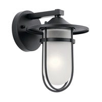 Kichler 49824BK Finn 1 Light 10 inch Black Outdoor Wall Light, Small