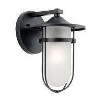 Kichler 49825BK Finn 1 Light 13 inch Black Outdoor Wall Light, Medium